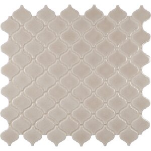 Fog Arabesque Ceramic Mosaic Tile in Gray (Set of 15)