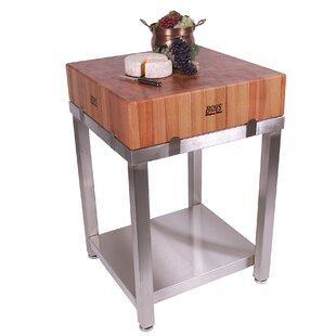 kitchen butcher block cherry cucina americana laforza prep table with butcher block top kitchen islands carts youll love wayfair