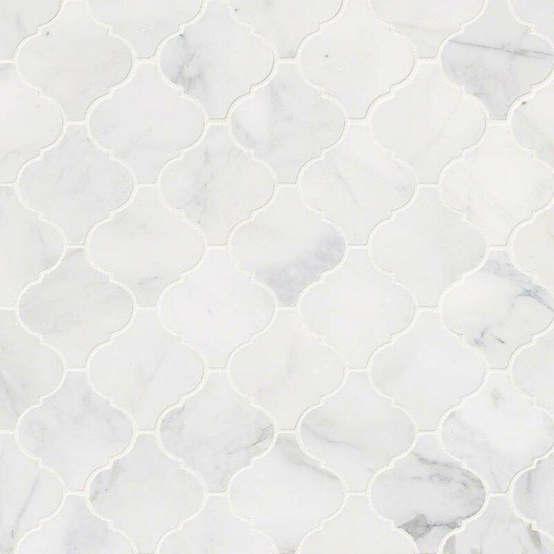 Calacatta Cressa Arabesque Honed Marble Mosaic Tile In White