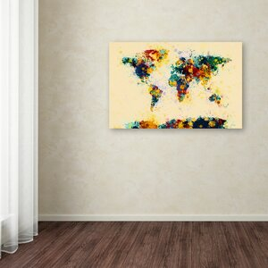 Old world map wall art wayfair world map paint splashes by michael tompsett graphic art on wrapped canvas gumiabroncs Images