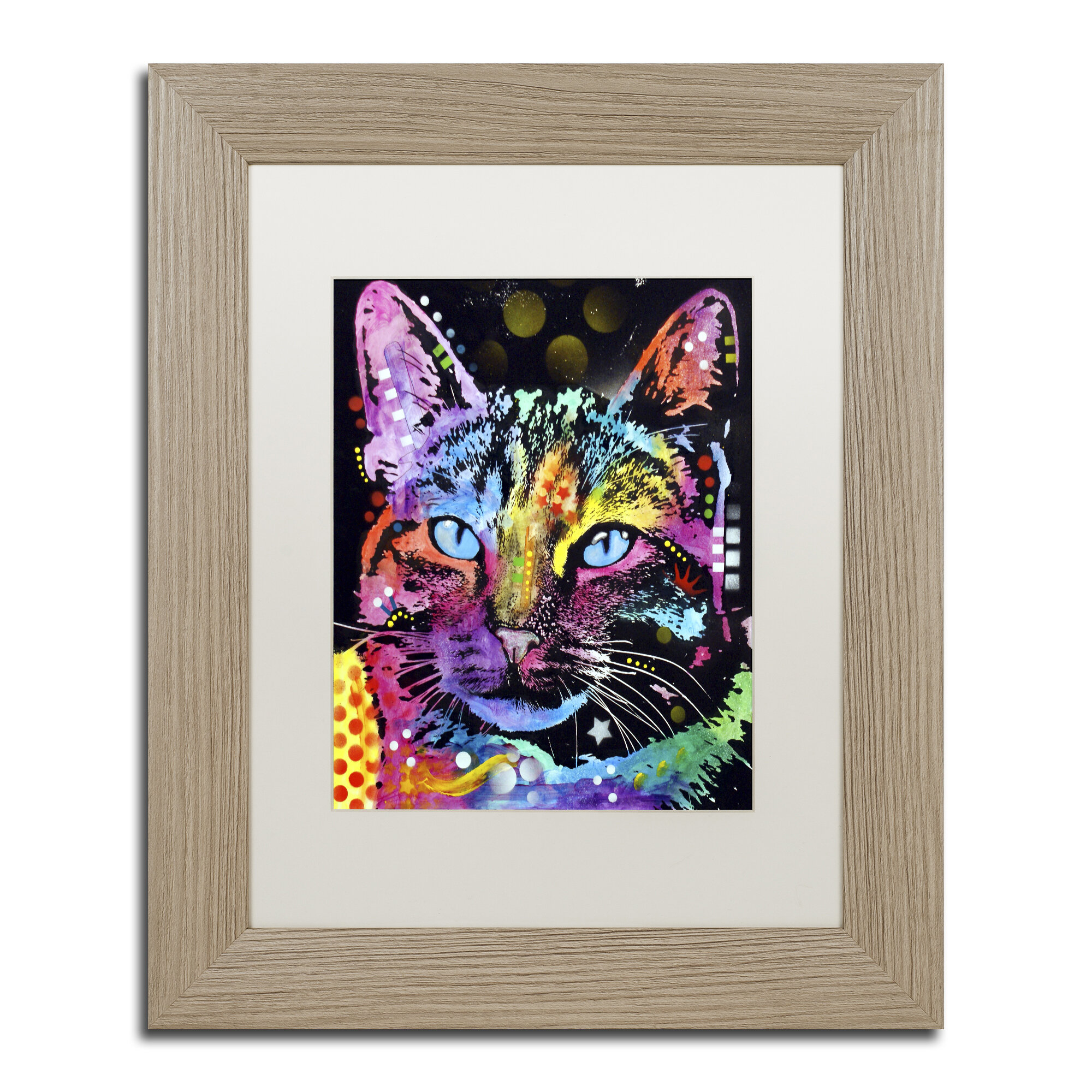 Trademark art quotthoughtful catquot by dean russo matted framed for Best brand of paint for kitchen cabinets with astronomy canvas wall art