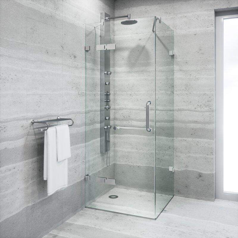 VIGO Monteray 34.25 x 34.25 x 73.37 Frameless Shower Enclosure with ...