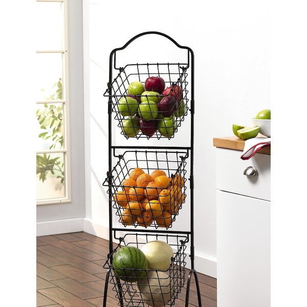 3 Tier Basket Storage On Stand | Wayfair