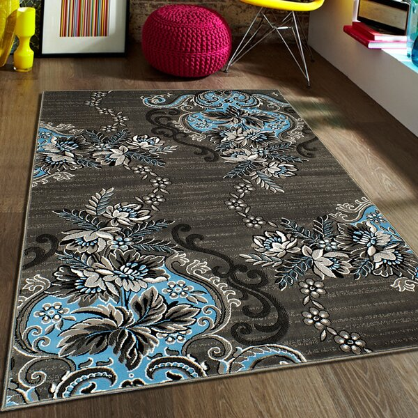 allstar rugs blue/grey area rug & reviews | wayfair.ca