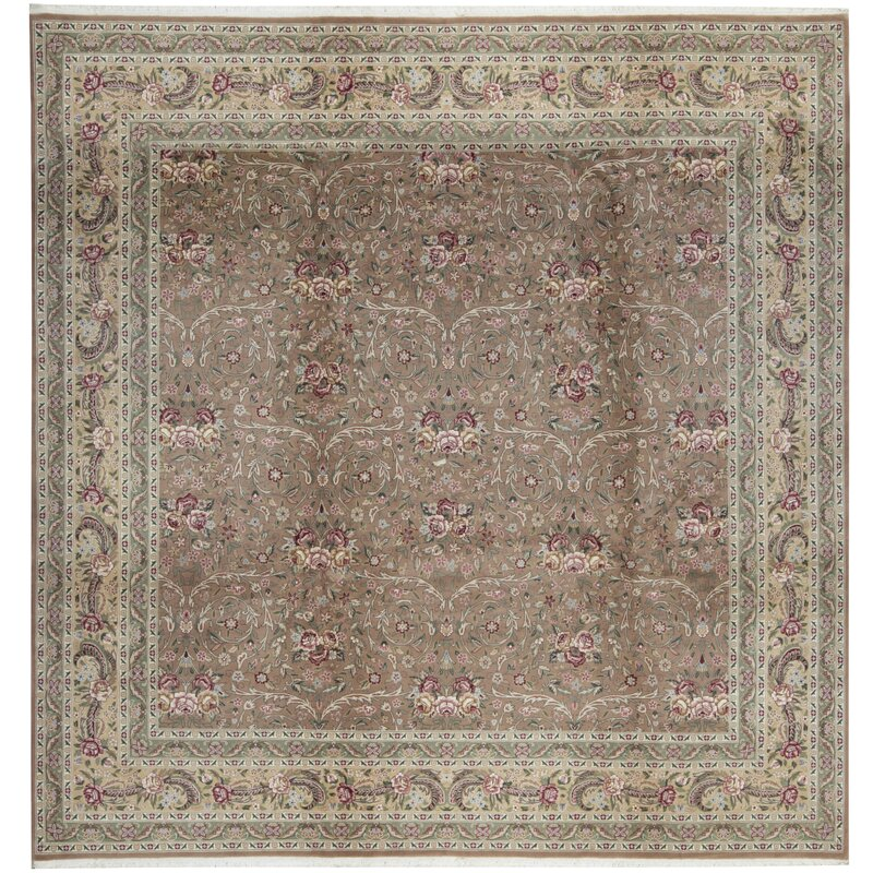 Bokara Rug Co., Inc. One-of-a-Kind Jahan Quality Hand-Knotted Square 10 Wool Pink/Beige Area Rug