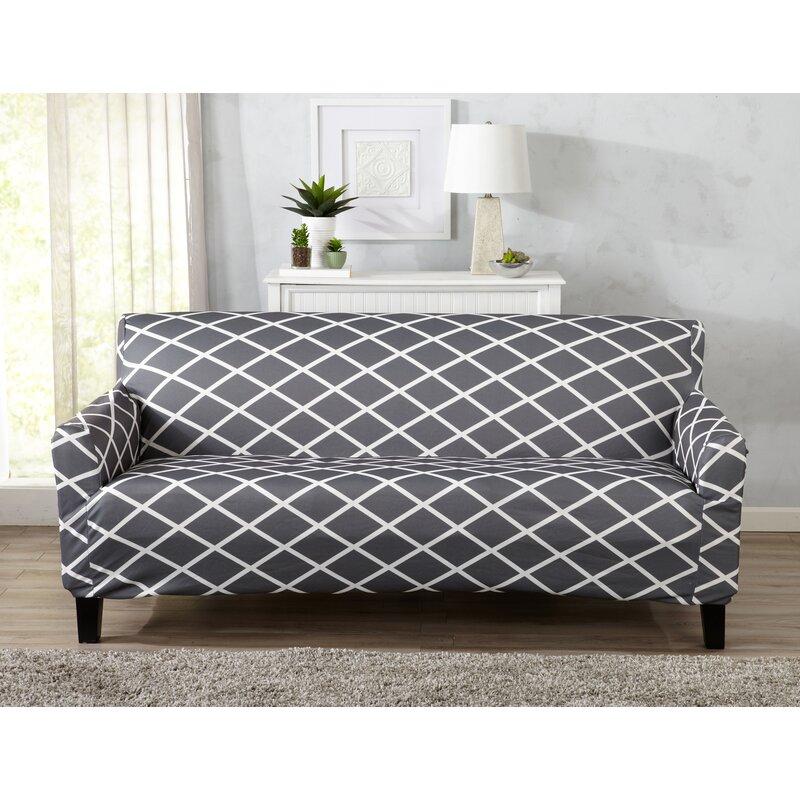 Form Fitting Stretch Diamond Printed Sofa Slipcover