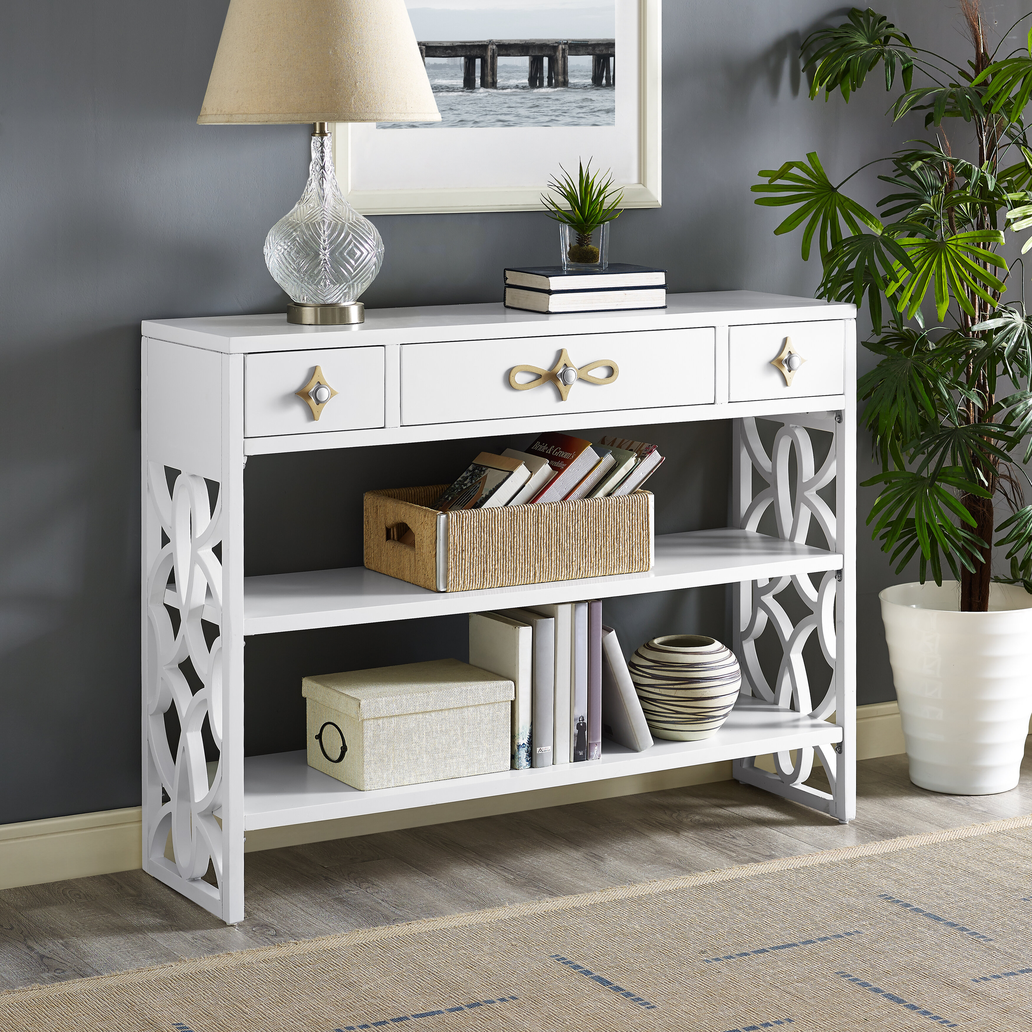 Exceptionnel Everly Quinn Partin Modern White Three Drawer With Contrasting Overlays Console  Table U0026 Reviews | Wayfair
