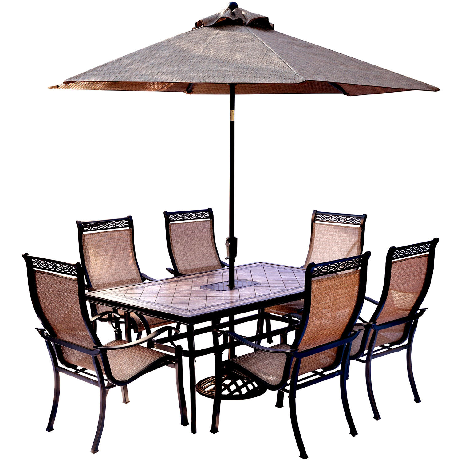 Fleur De Lis Living Bucci 7 Piece Dining Set With Table Umbrella And Stand Wayfair