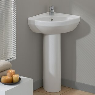 Pee Vitreous China 23 Pedestal Bathroom Sink With Overflow