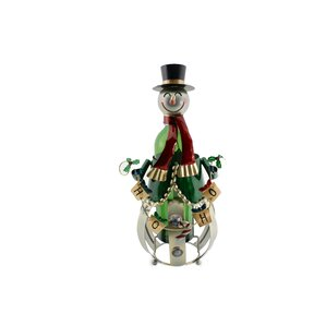 Metal Christmas Snowman 1 Bottle Tabletop Wine Bottle Rack by The Holiday Aisle