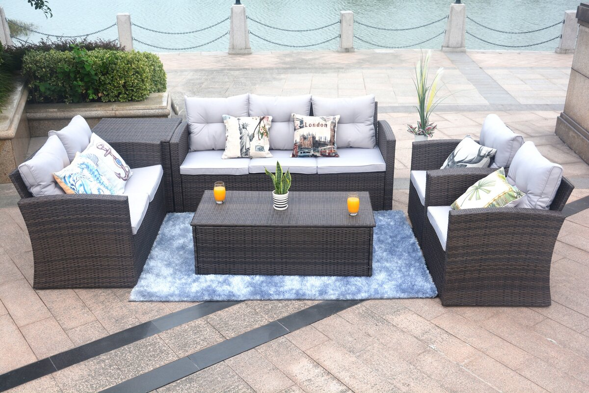 Red Barrel Studio Baptist 6 Piece Rattan Sofa Set with Cushions ...