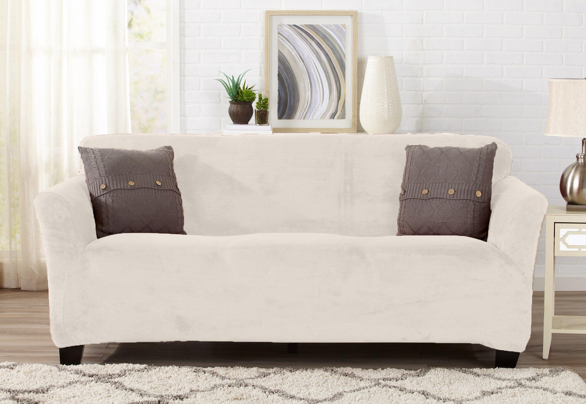 Symple Stuff Velvet Plush Form Fit T Cushion Sofa Slipcover