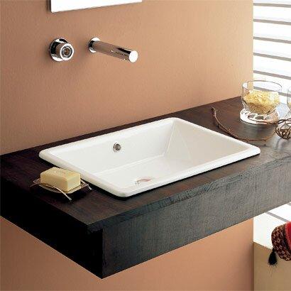 Gaia Ceramic Rectangular Drop-In Bathroom Sink with Overflow
