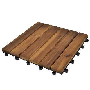 Cotten 30cm x 30cm Wood Field Tile in Brown (Set of 10) by Lynton Garden