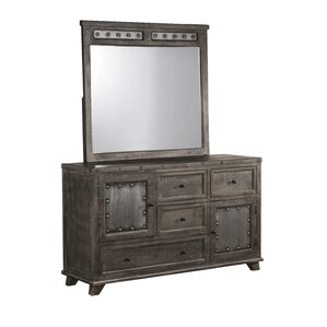 Campbell Hill 4 Drawer Combo Dresser with Mirror by Loon Peak