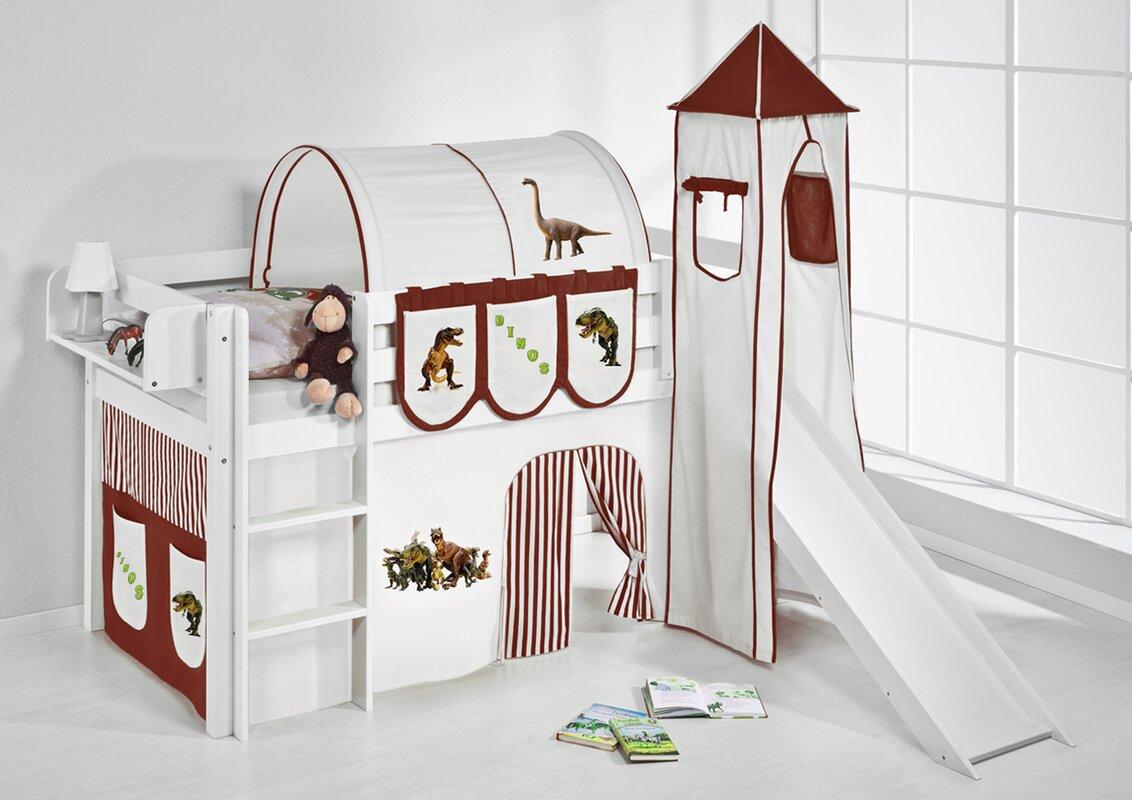lilokids hochbett dinos mit turm rutsche und vorhang bewertungen. Black Bedroom Furniture Sets. Home Design Ideas