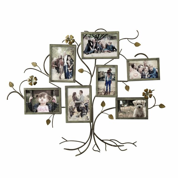 Family Tree Picture Frame Wall Hanging red barrel studio 7 opening decorative bronze-color iron family