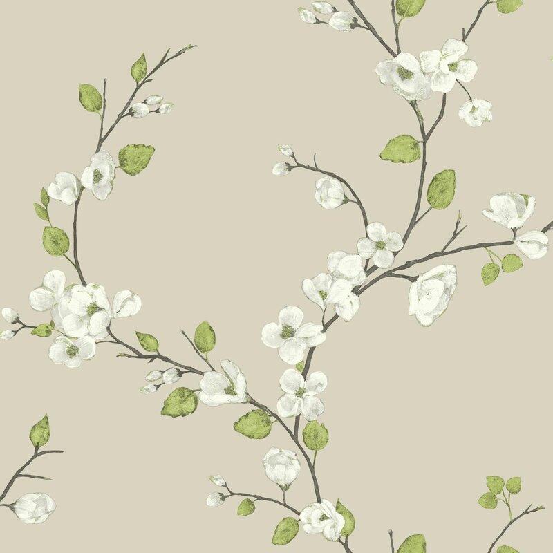 """Metallic II 33' L x 20.5"""" W Floral Wallpaper Roll"""