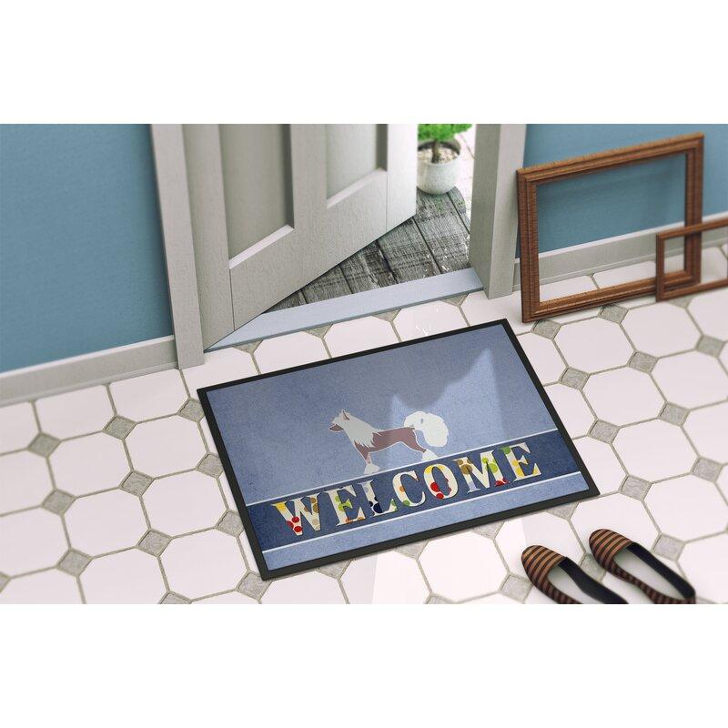 East Urban Home Chinese Crested Welcome 27 In X 18 In Non Slip Outdoor Door Mat Wayfair