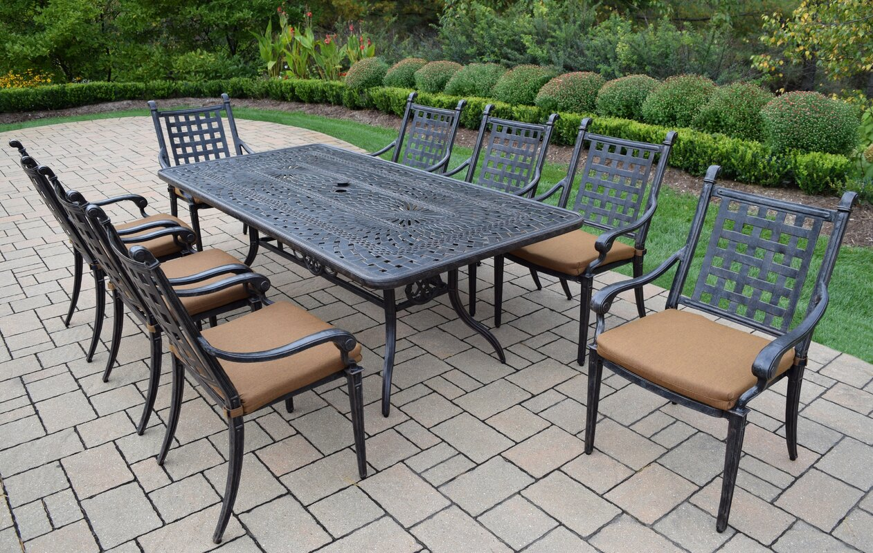 Vandyne 9 Piece Patio Dining Set With Cushions