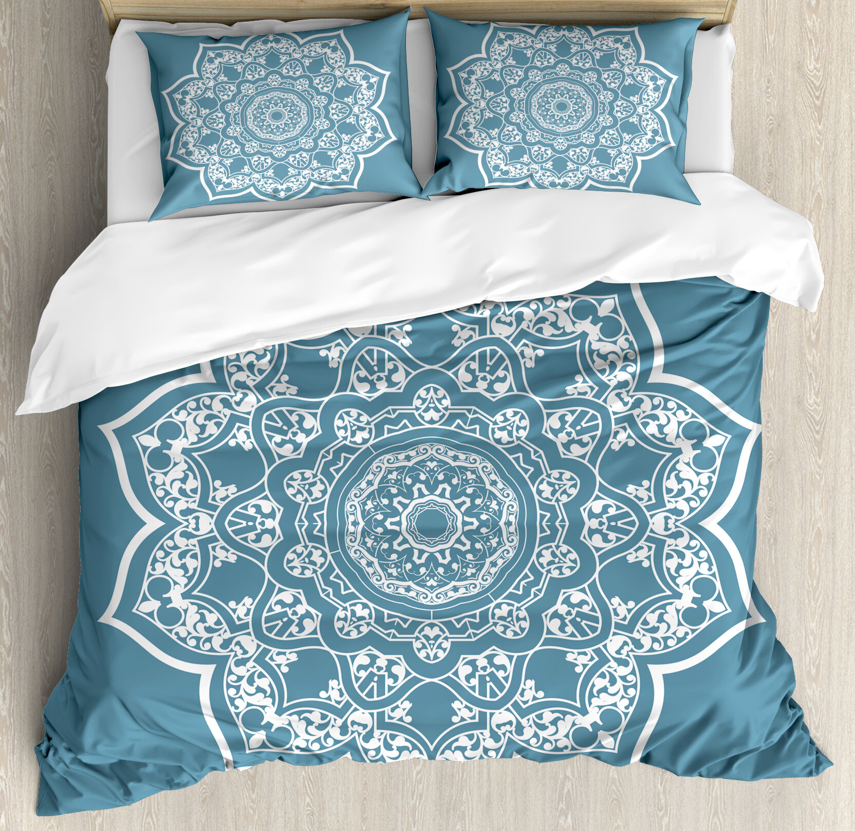 Gentil Lotus Cultural Ethnic Universe Symbol Floral Mandala With Lace Effects Boho  Motif Duvet Cover Set