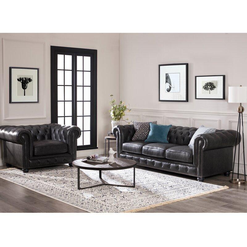 Brinson Leather Chesterfield Sofa Reviews Birch Lane