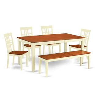 Cleobury 6 Piece Extendable Solid Wood Breakfast Nook Dining Set