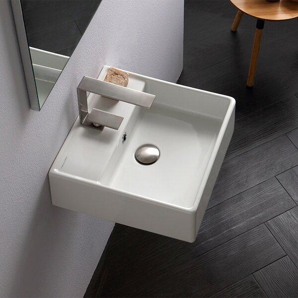 Scarabeo by nameeks teorema ceramic 16 wall mount bathroom sink with overflow reviews wayfair for Bathroom vanity outlet atlanta