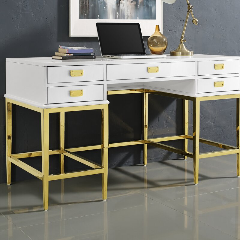Gilbery Stainless Steel and Antique Glass Five Drawer Writing Desk - Everly Quinn Gilbery Stainless Steel And Antique Glass Five Drawer