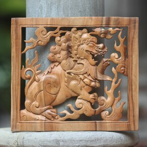 balinese lion hand carved suar wood relief panel wall dcor