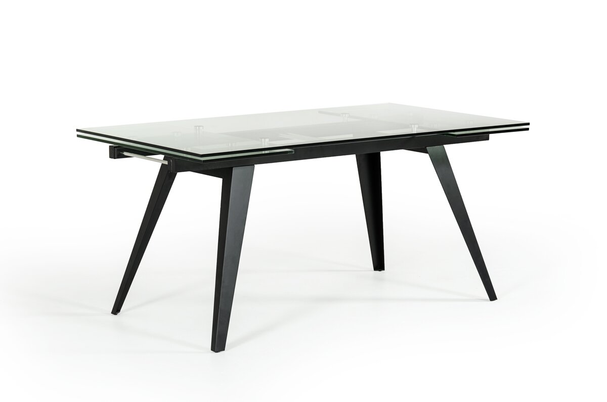 Orren Ellis Clower Contemporary Extendable Glass Top Dining Table