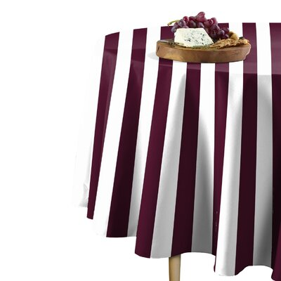"Rosdorf Park Sam Stripe Table Cloth  Size: 114"" L x 114"" W, Color: Burgundy"