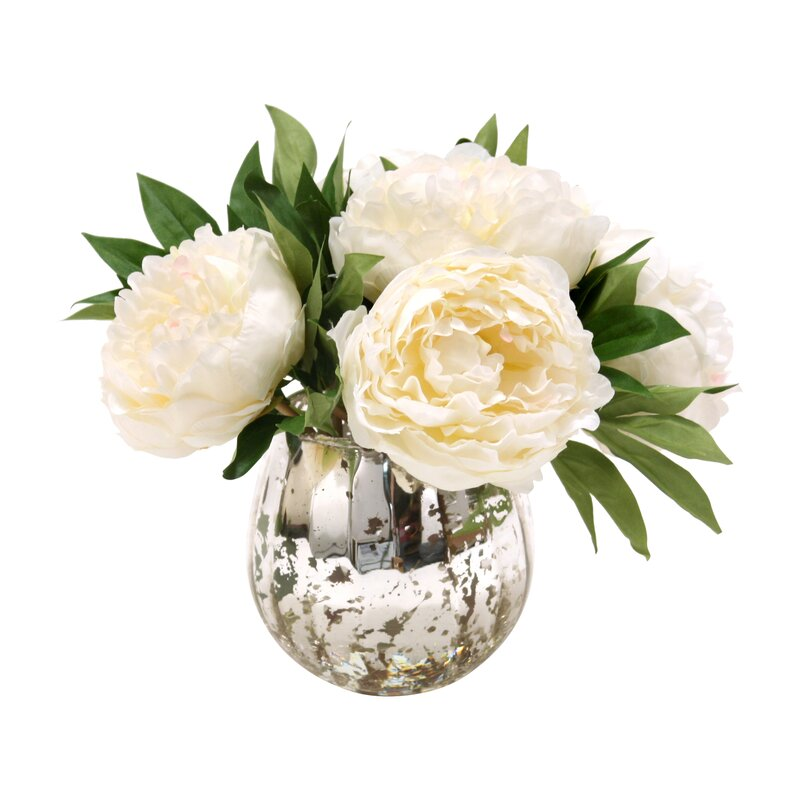 Distinctive designs waterlook white peonies in mercury glass waterlook white peonies in mercury glass mightylinksfo