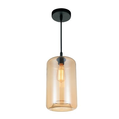1-light Cylinder Pendant Cwilighting Shade Color: Amber