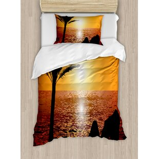 Silhouette Of Lady And Palm Tree Duvet Set