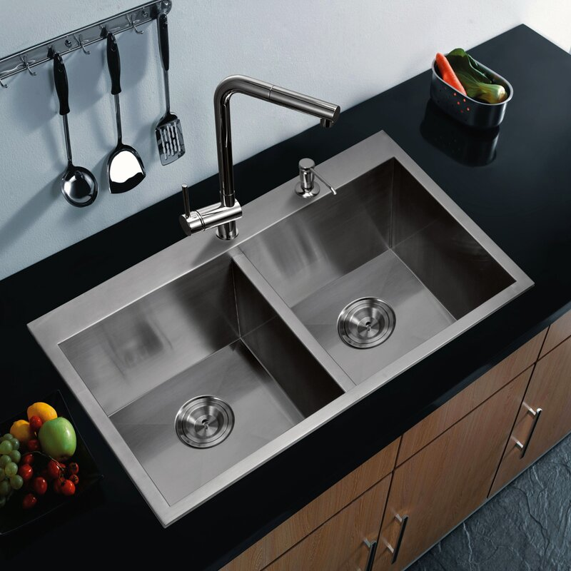 dcor design brier double bowl kitchen sink reviews wayfair rh wayfair com kitchen sink double bowl with drainer ceramic kitchen sinks double bowl