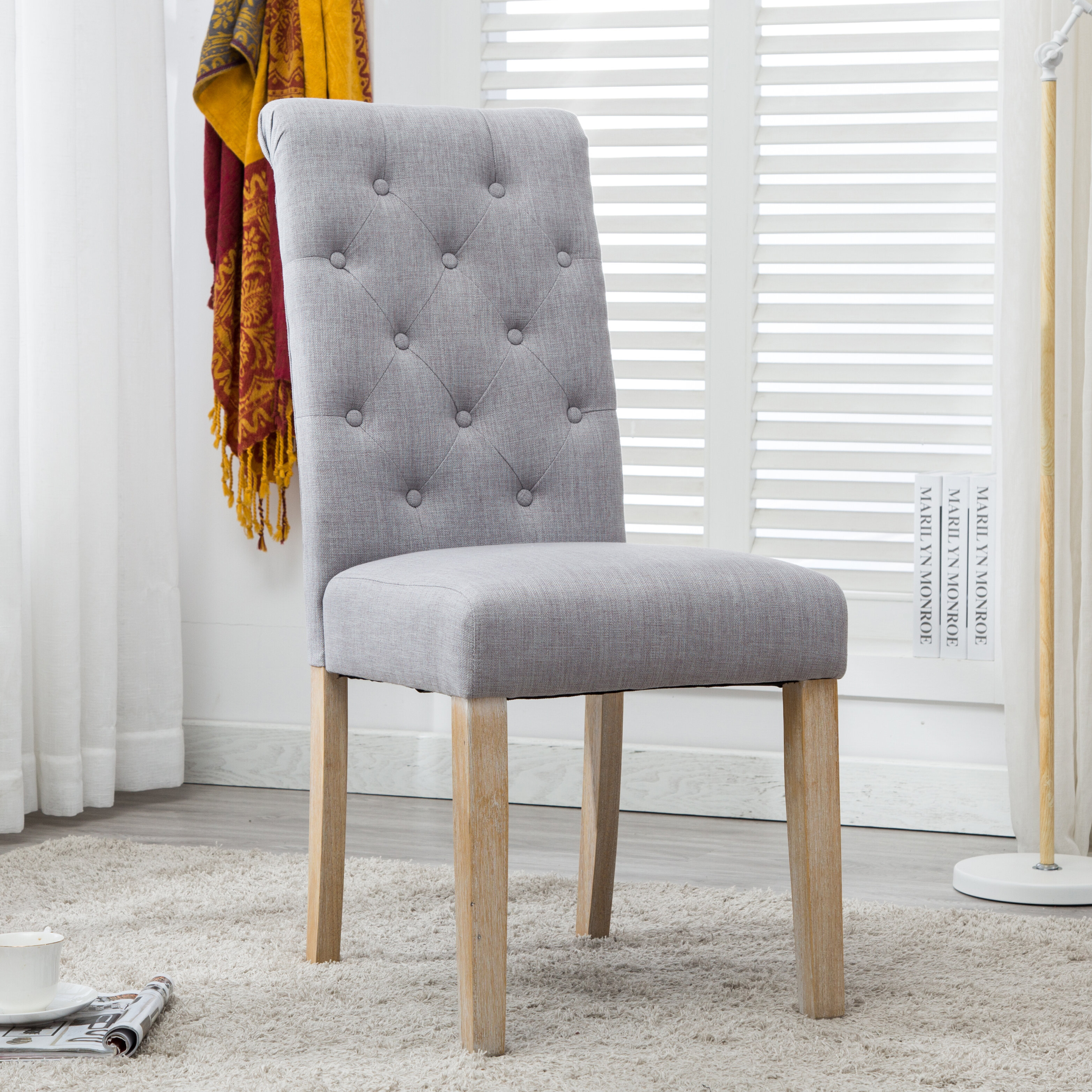 Alethea Binningen Button Tufted Upholstered Dining Chair U0026 Reviews | Wayfair