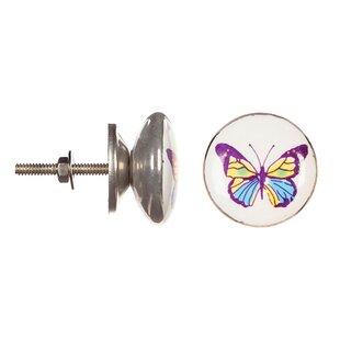 Ceramic Purple Butterfly Round Knob