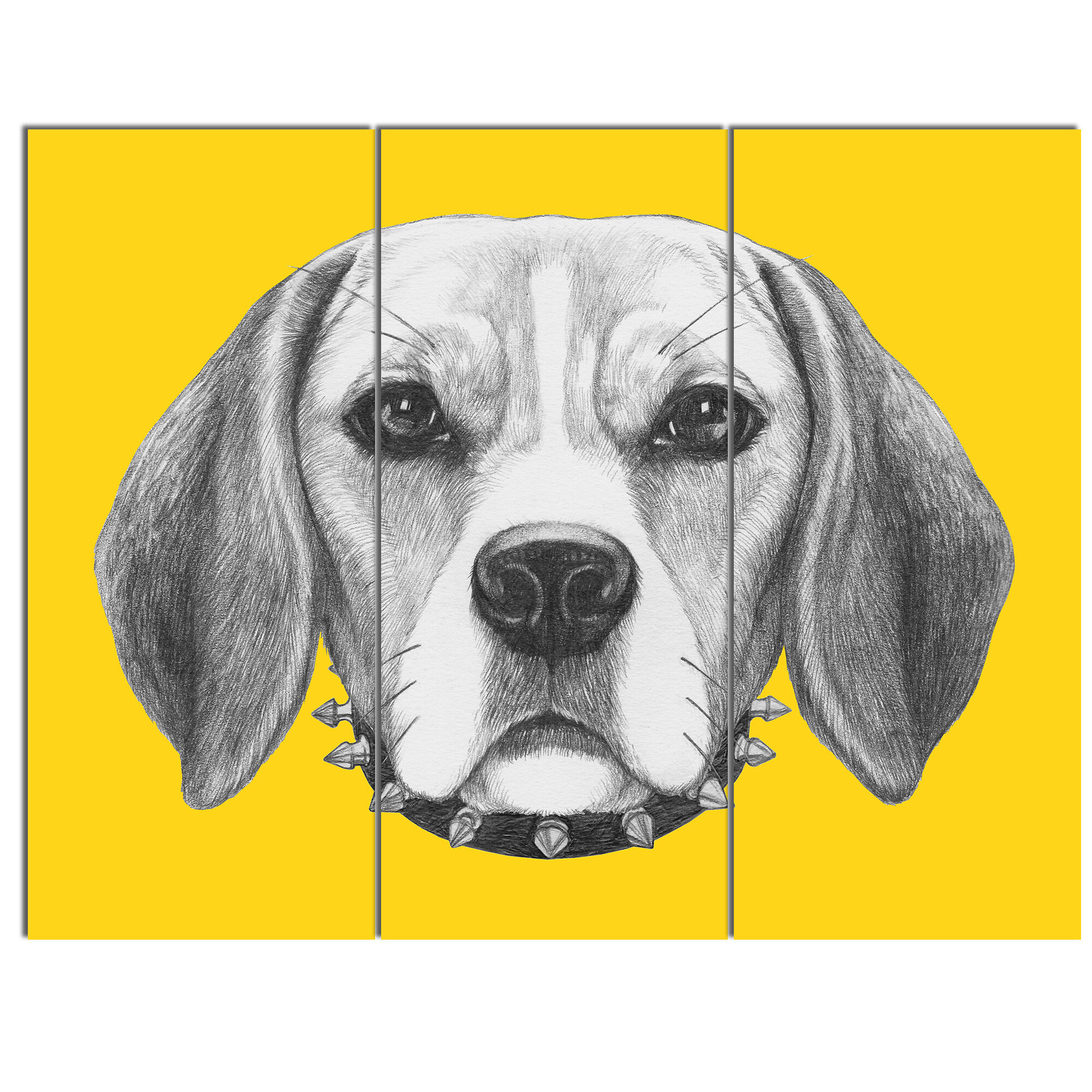 DesignArt \'Funny Beagle Dog with Collar\' 3 Piece Wall Art on Wrapped ...