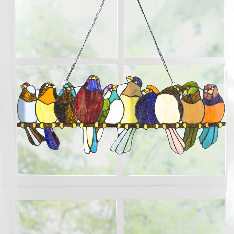 August Grove Birds On A Wire Tiffany Style Stained Glass