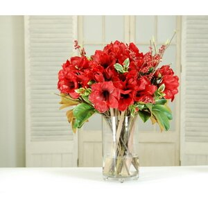 Amaryllis and Berry Floral Arrangement in Vase