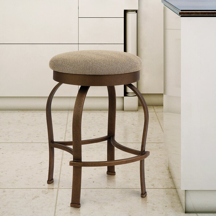 Taylor Grey Home Hilton 30 Counter Height Metal Swivel Backless Barstool In Milan 82004 Fabric And Copper Bisque Finish