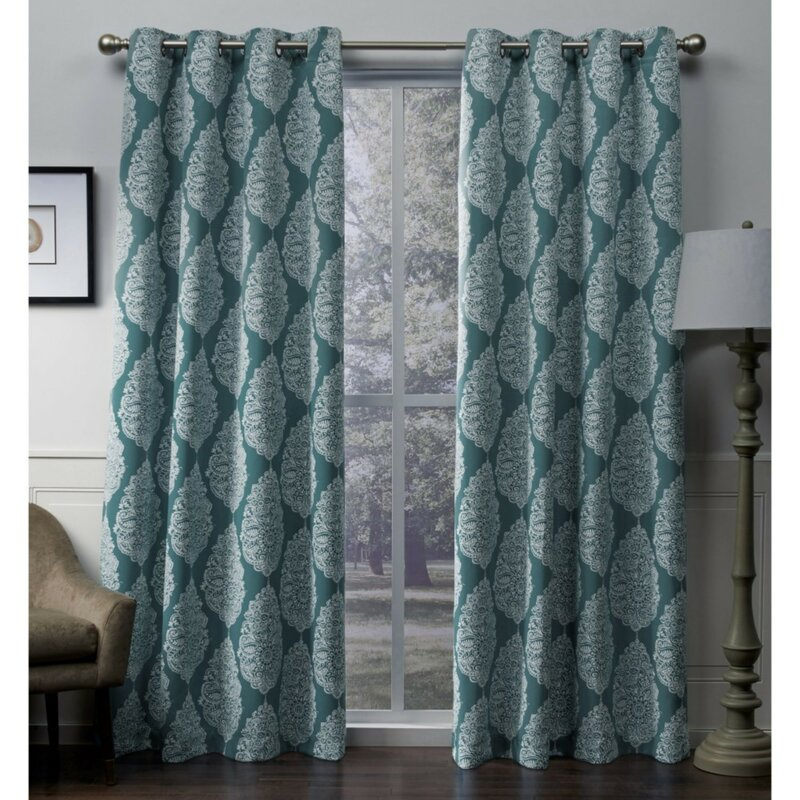 Queensland Geometric Blackout Thermal Grommet Curtain Panels