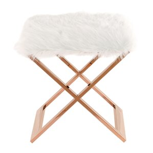 Laurel Faux Fur Ottoman by New Pacific Direct
