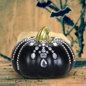 Jeweled Pumpkin Black Lawn Art
