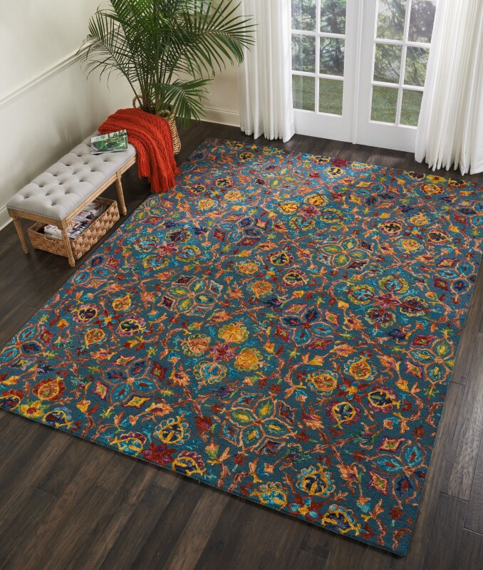 Bloomsbury Market Zosia Hand Tufted Wool Teal Area Rug