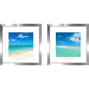 'Tropical Horizons IV' 2 Piece Framed Photographic Print Set Under Glass
