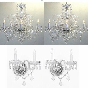 Chandelier wall sconce wayfair littell 4 piece crystal chandelier and wall sconce set aloadofball Gallery