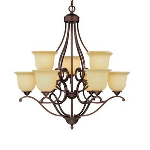 Vintage chandelier wayfair courtney lakes 9 light shaded chandelier aloadofball Gallery