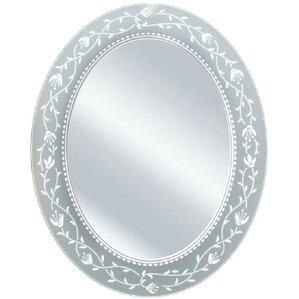 Oval Etched Border Bathroom Vanity Mirror